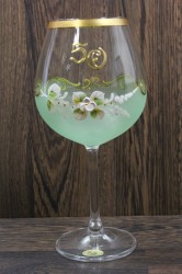Výročný pohár na 50. narodeniny - NA VÍNO - zelený (v. 23 cm)
