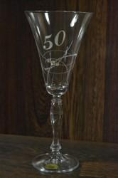 Výročný pohár na 50. narodeniny ŠAMPANSKÉ so swarovski kryštálmi