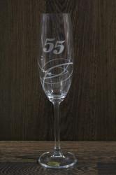 Výročný pohár na 55. narodeniny so swarovski kryštáľmi ŠAMPANSKÉ 2.