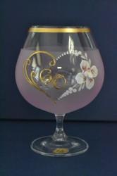 Výročný pohár na 60. narodeniny - BRANDY - ružový (v. 16 cm)