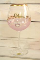 Výročný pohár na 60. narodeniny - NA VÍNO - ružový (v. 23 cm)