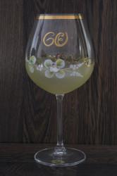 Výročný pohár na 60. narodeniny - NA VÍNO - žltý(v. 23 cm)