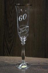 Výročný pohár na 60. narodeniny - ŠAMPANSKÉ so swarovski kryštáľmi a str. pásom 190 ml