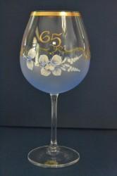 Výročný pohár na 65. narodeniny - NA VÍNO - modrý (v. 23 cm)