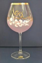 Výročný pohár na 65. narodeniny - NA VÍNO - ružový (v. 23 cm)