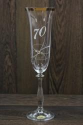 Výročný pohár na 70. narodeniny ŠAMPANSKÉ so strieborným pásom