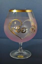 Výročný pohár na 80. narodeniny - BRANDY - ružový (v. 16 cm)