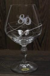 Výročný pohár na 80. narodeniny BRANDY so swarovski kryštáľmi