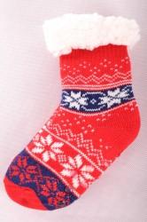 Zateplené ponožky s nórskym vzorom - červeno-modré (v. 28-31)