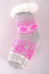 Zateplené ponožky s nórskym vzorom - cyklámenové (v. 32-35)