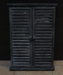 Zrkadlo s dreveným rámom - sivé (40,5x58x5,5 cm)