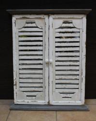 Zrkadlo s dreveným rámom - sivo-biele (58,5x71x6,5 cm)