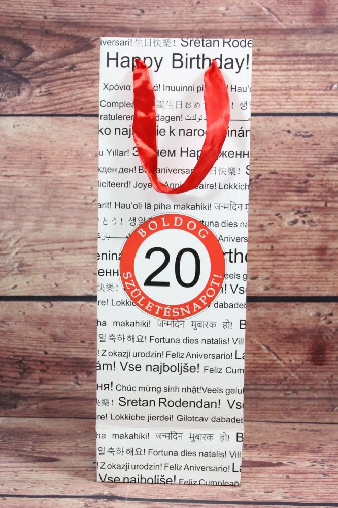 Ajándék táska üvegre 20 (12x36x9 cm)
