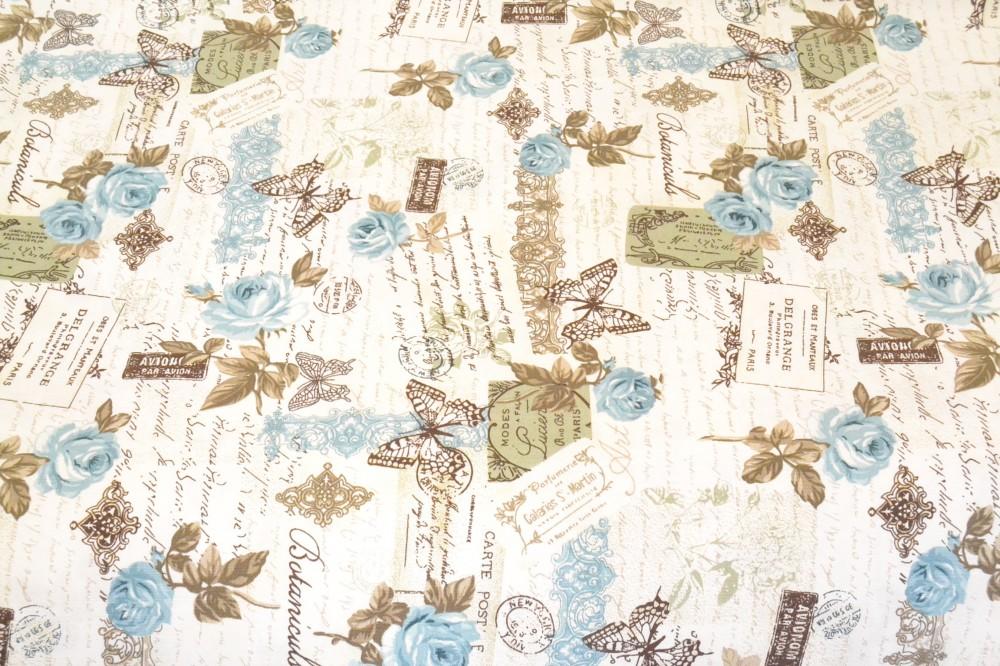 d973e1fee12a Bavlnená látka modrý kvet - maslová (š. 180 cm) - Látky metráž ...