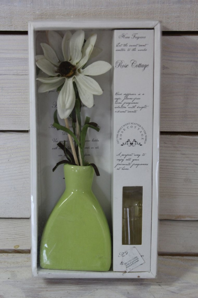 Bytový parfém+váza s kvietkami - biela