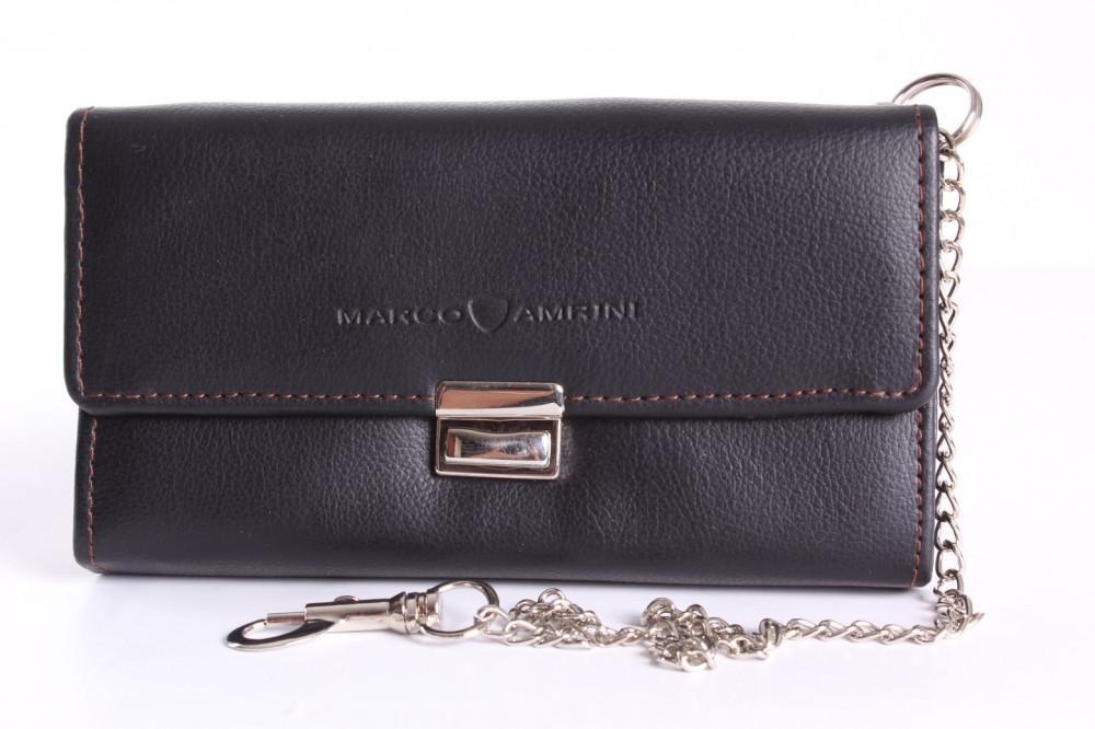 Čašnícka peňaženka s retiazkou MARCO AMRINI (18x10 cm) - čierna