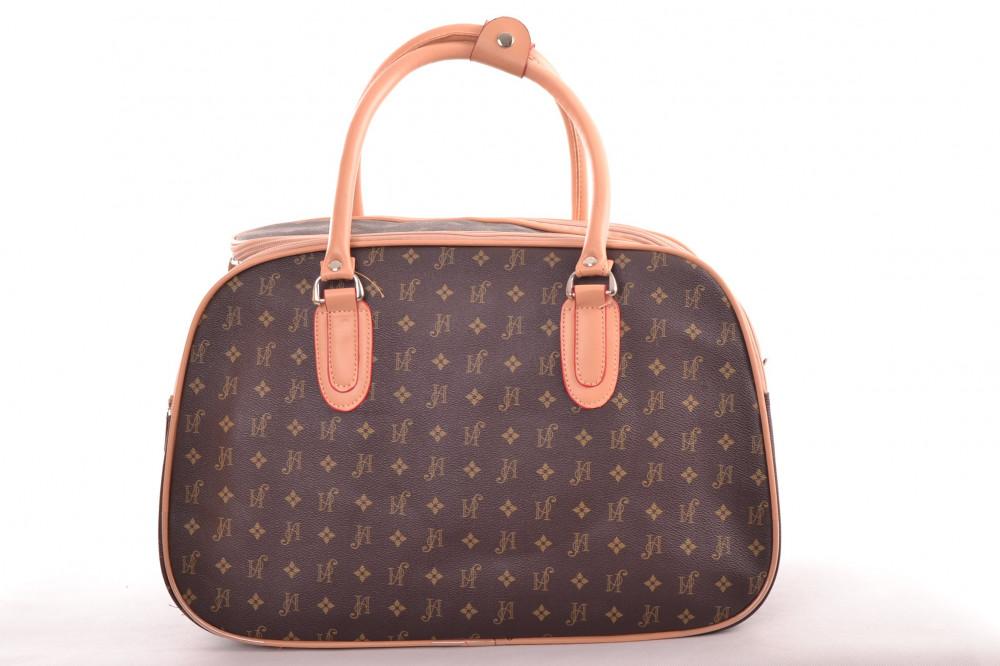 5354a8b51ddaa Cestovná taška - hnedá s béžovým lemom (42x29x22 cm) - Elegantné ...