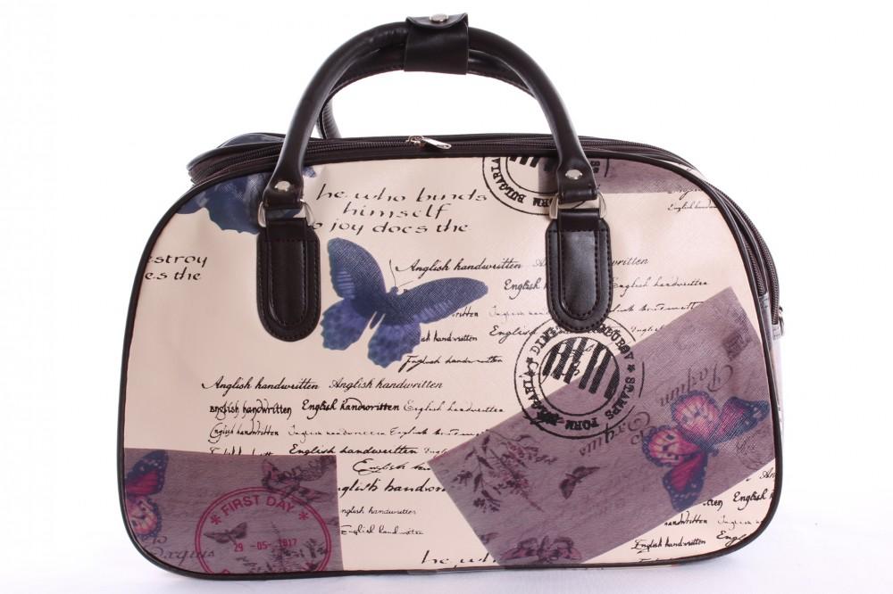 ddae5e9a7d Cestovná taška s motýlikmi (42x29x22 cm) - tmavohnedo-béžová ...