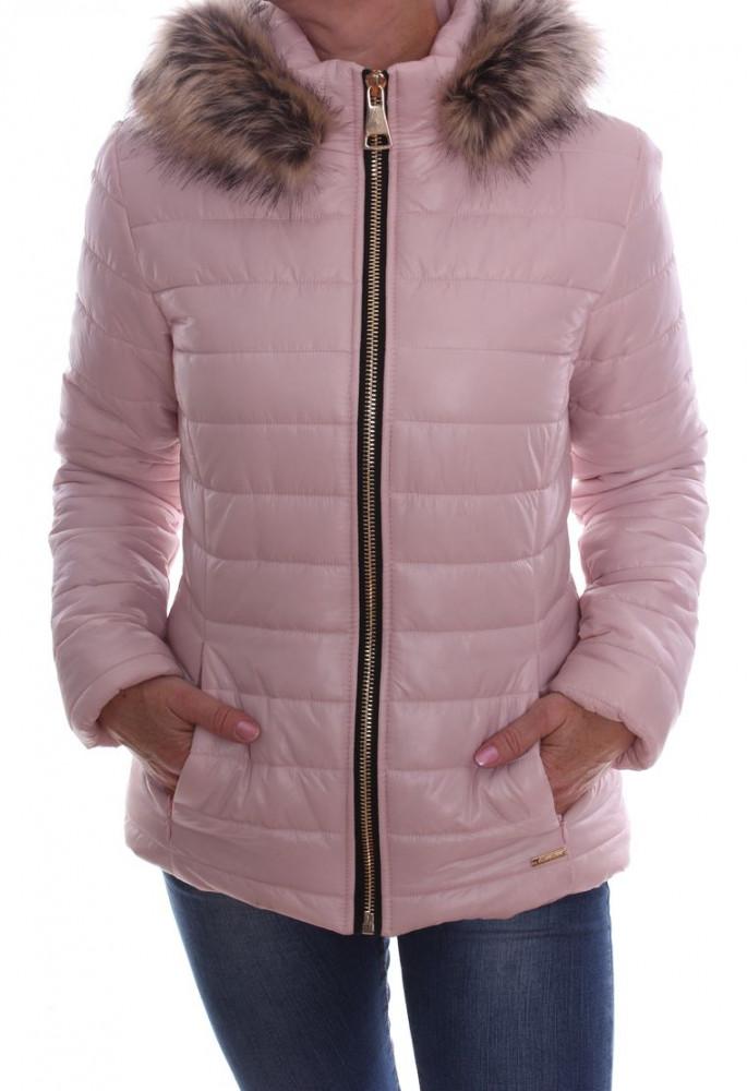 Dámska bunda prešívaná s kapucňou - bledoružová