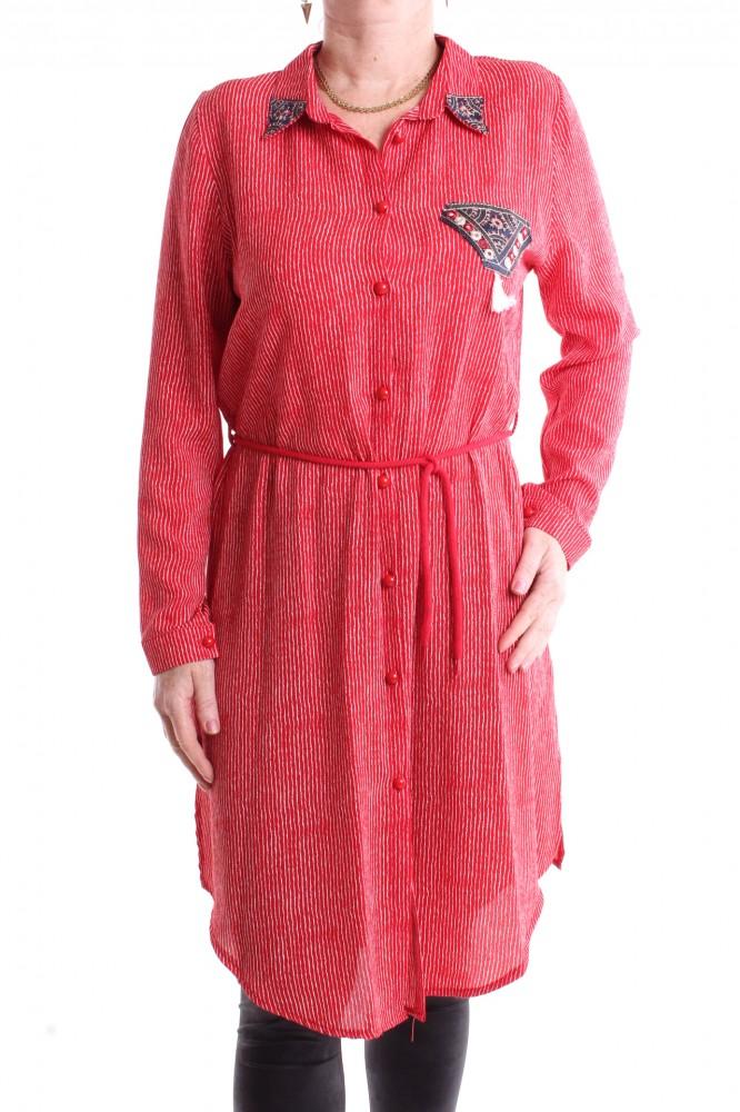 d76f70a76f12 Dámska dlhá košeľa s pásikmi - bielo-červená - Dámske košele - Locca.sk