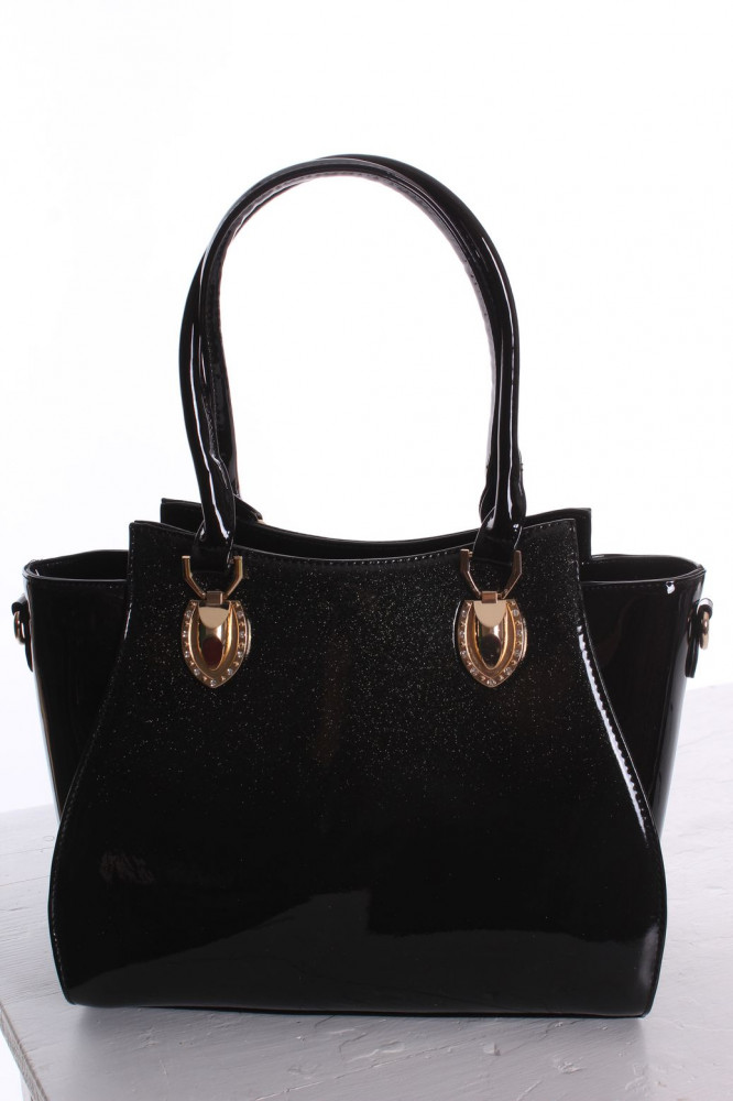 a8e314e04 Dámska elegantná kabelka lakovaná a trblietavá (8605) - čierna (31x26x11 cm)