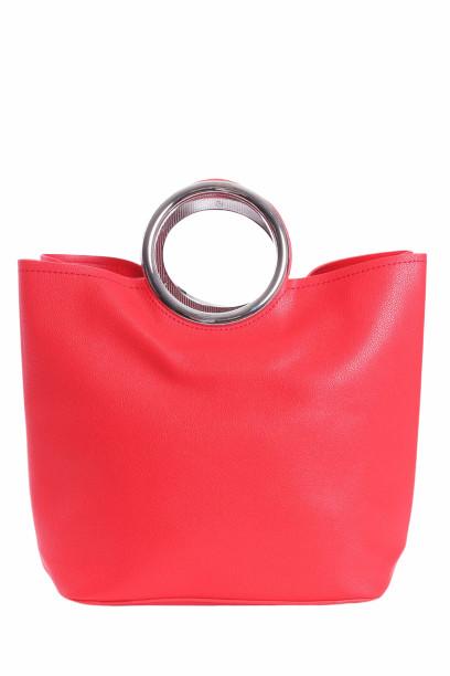 Dámska kabela so striebornou rúčkou - červená (27x26x14 cm)