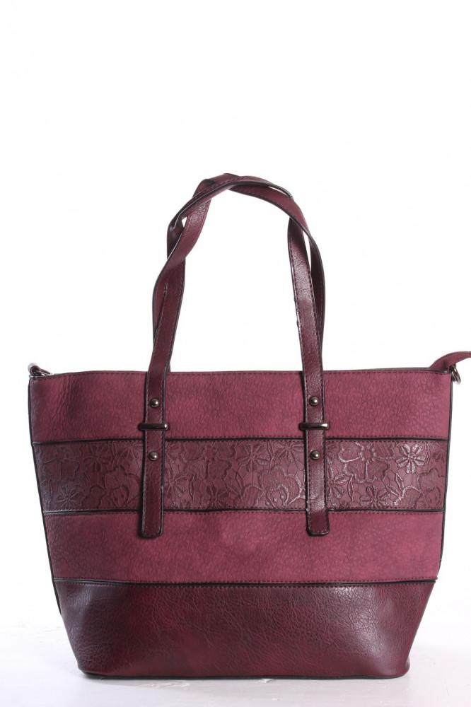 Dámska kabelka (141) vzorovaná - bordová(42x28x14 cm)