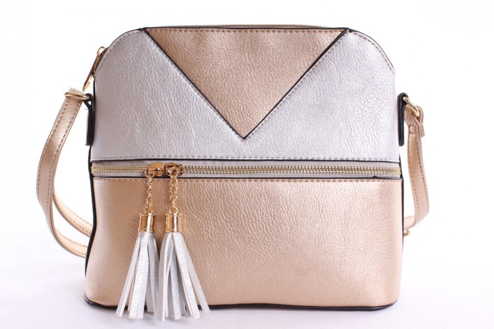 Dámska kabelka cez plece (24x21x9 cm) - zlato-strieborná - Kabelky ... 28b70510a41