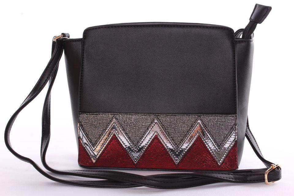 Dámska kabelka cez plece s farebným motívom - čierna - Kabelky cez ... 0846e0b5a4d