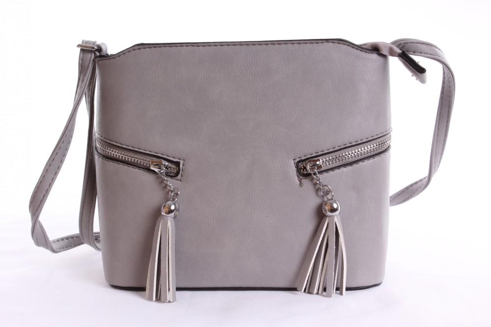 eed9edfba6 Dámska kabelka cez plece so zipsami (23x18x9 cm) - sivá - Kabelky ...