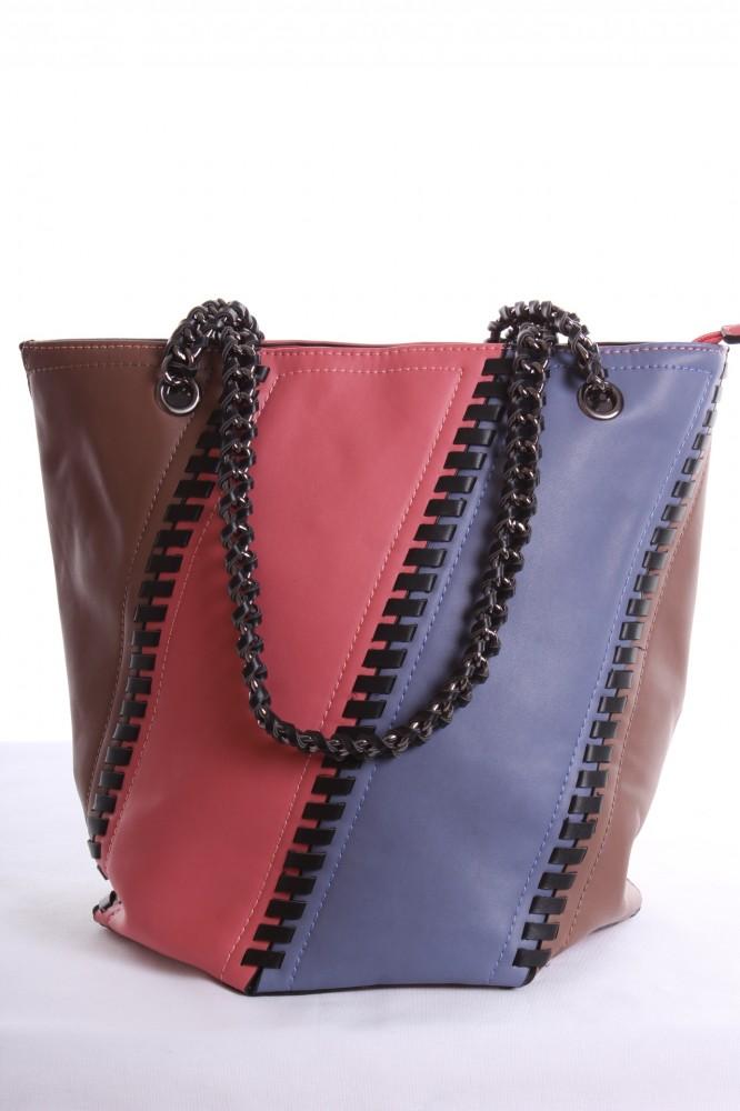 Dámska kabelka farebná a prešívaná (37x31x20 cm) - ružovo-hnedá ... c4e63654c6e