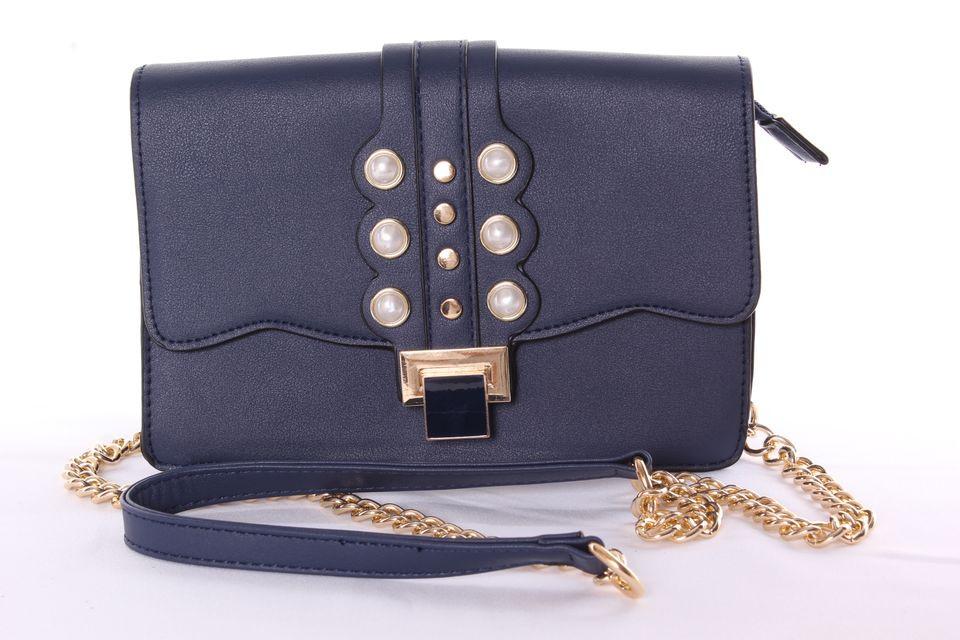 Dámska kabelka ozdobená korálkami (YF189) - tmavomodrá (23x16x8 cm)