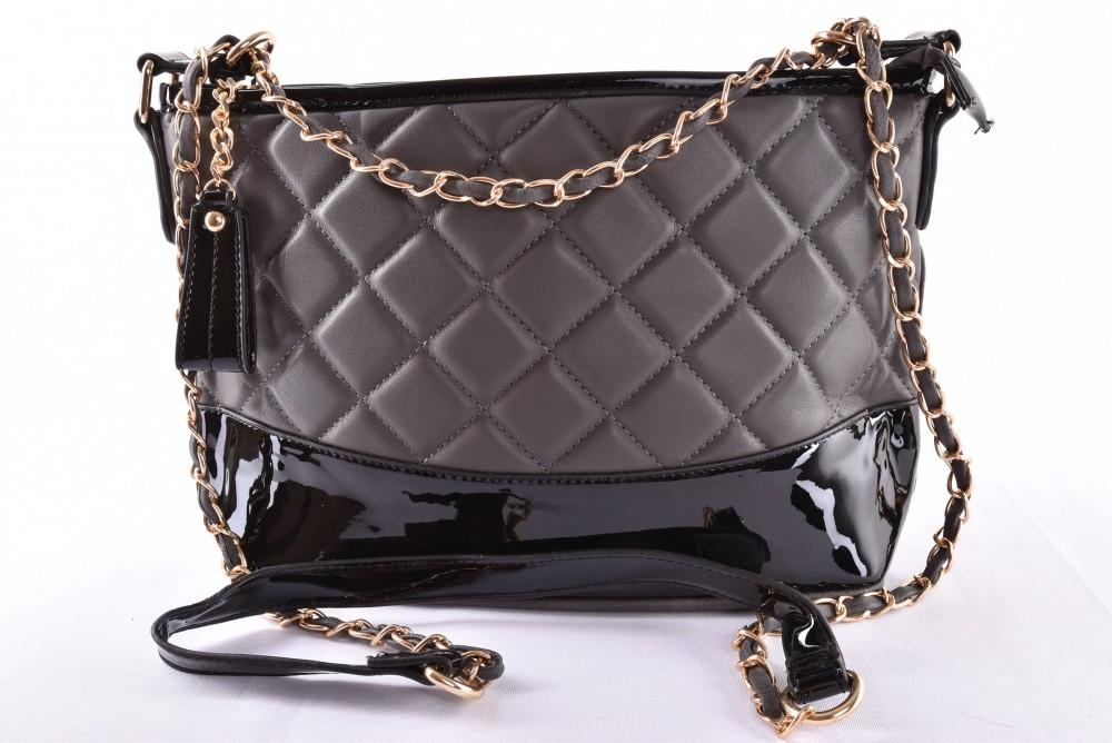 Dámska kabelka prešívaná - sivo-čierna (35x19x12 cm) - Výpredaj ... 102560b6e9d