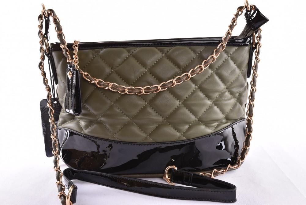 Dámska kabelka prešívaná - zeleno-čierna (35x19x12 cm) - Výpredaj ... 3c4db1e3cd7