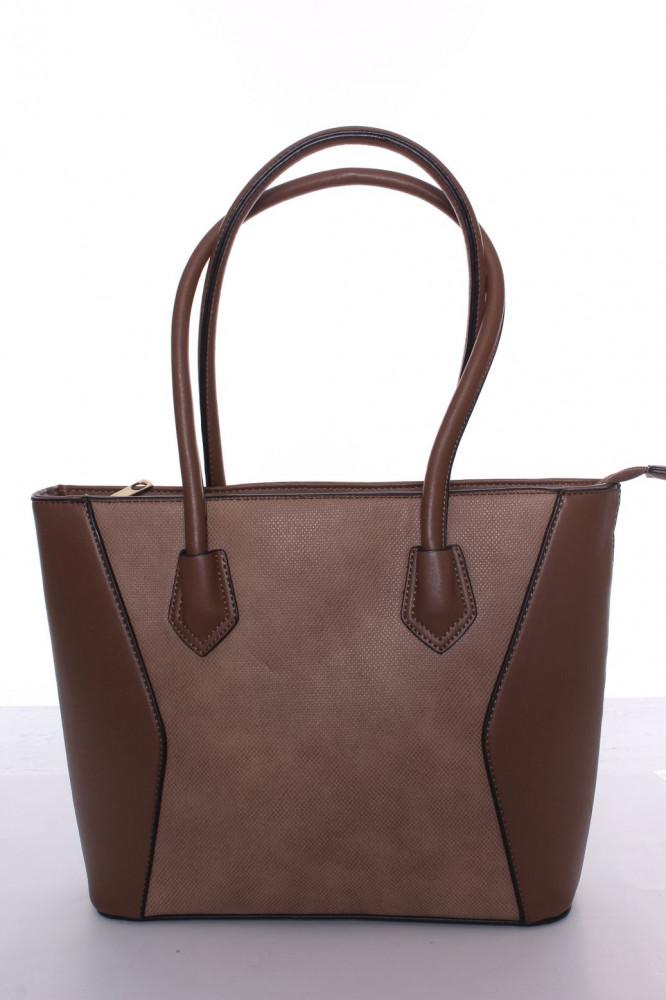 Dámska kabelka s čiernym lemovaním (A302-2) - hnedá (30x26x10 cm ... 74535224222