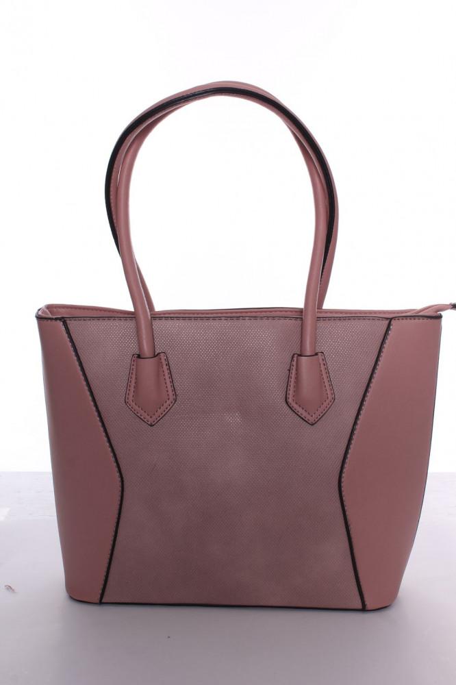 Dámska kabelka s čiernym lemovaním (A302-2) - ružová (30x26x10 cm)