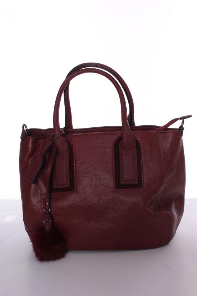 Dámska kabelka s ozdobou (SR3161) - bordová (30x28x14,5 cm)