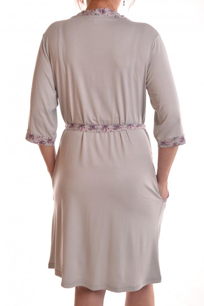 48ecb8166dfd Dámska nočná košeľa s kabátikom - sivá - Dámske nočné košele - Locca.sk