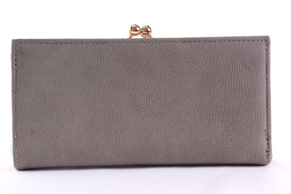 4f8d129841 Dámska peňaženka so zlatým zapínaním - sivá (19x9