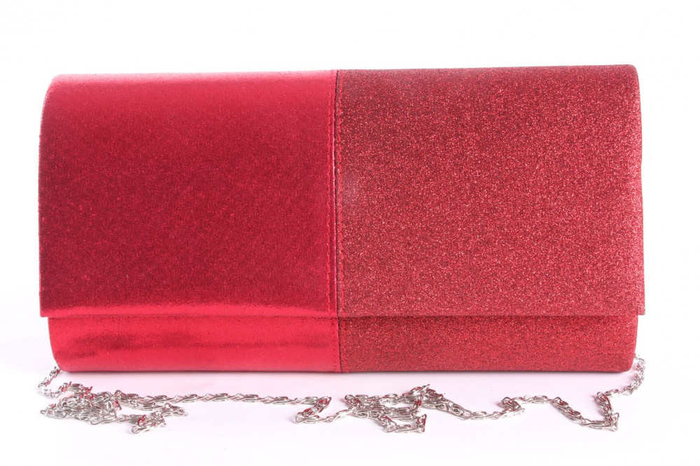 Dámska spoločenská kabelka (89637) - červená (23x12x5 cm)