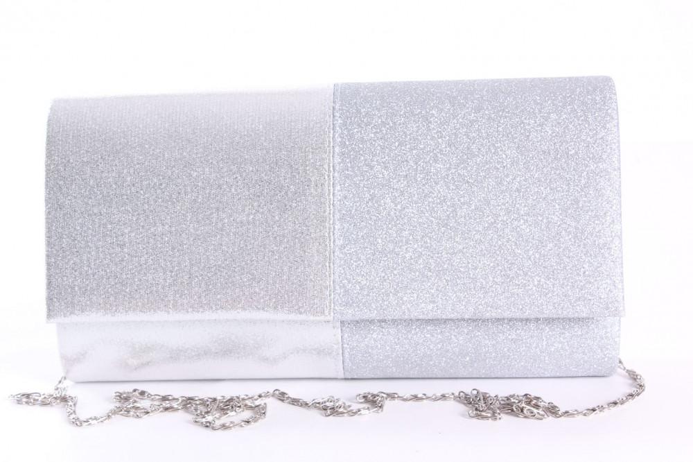 Dámska spoločenská kabelka (89637) - strieborná (23x12x5 cm)