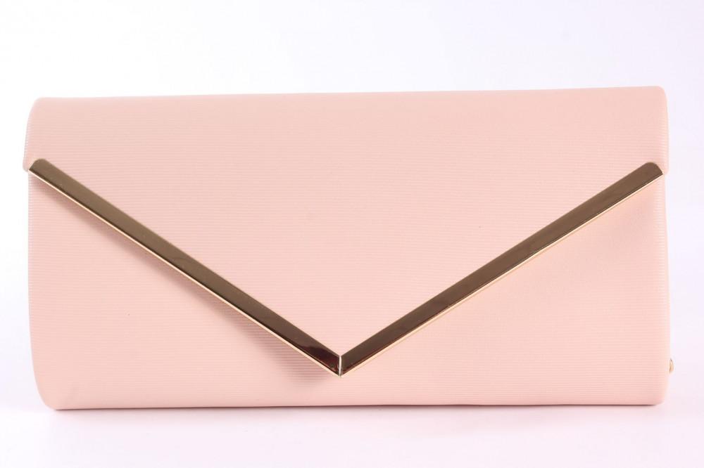 Dámska spoločenská kabelka (HD762) - broskyňová (24x12x5 cm)