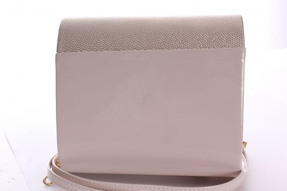 29e1153108 Dámska spoločenská kabelka lakovaná (18x16x5 cm) - zlato-béžová ...
