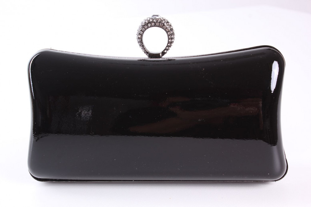 0e71a6949b2 Dámska spoločenská kabelka lakovaná a zdobená štrasmi (ZL2042)- čierna  (19x10x5 cm)
