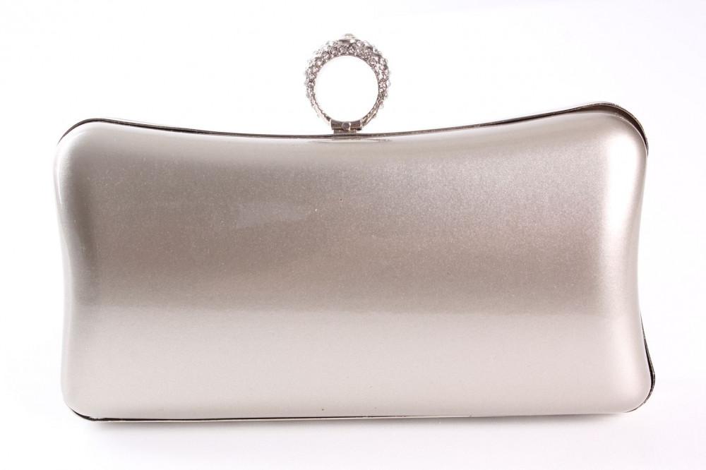 Dámska spoločenská kabelka lakovaná a zdobená  štrasmi(ZL2042)-strieborno-sivá(19x10x5 cm)