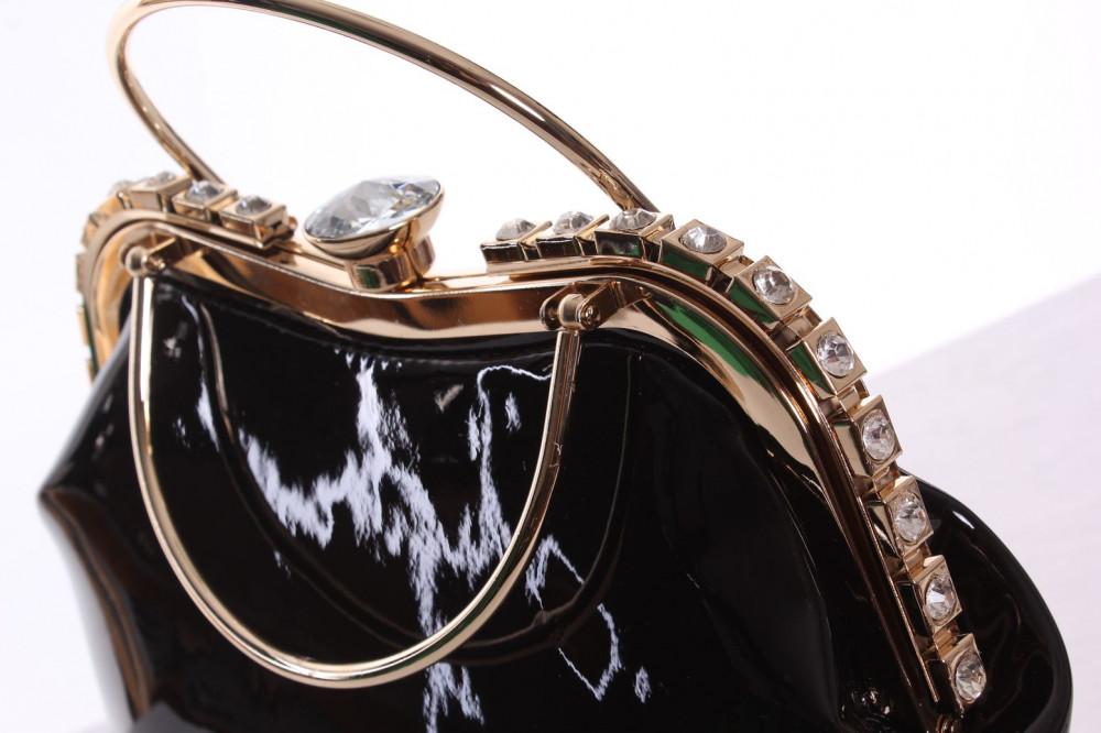 3c620a8c46 Dámska spoločenská kabelka ozdobená s kamienkami - čierna (25x25x9 cm)  1