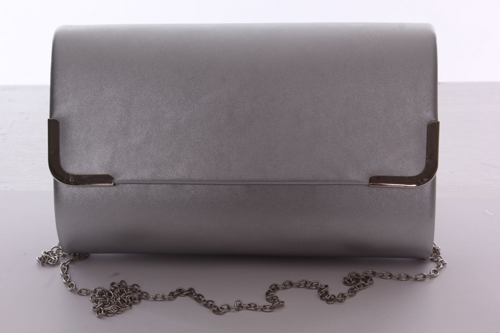 Dámska spoločenská kabelka s ozdobným lemom (6196) - strieborná (24x15x5 cm)