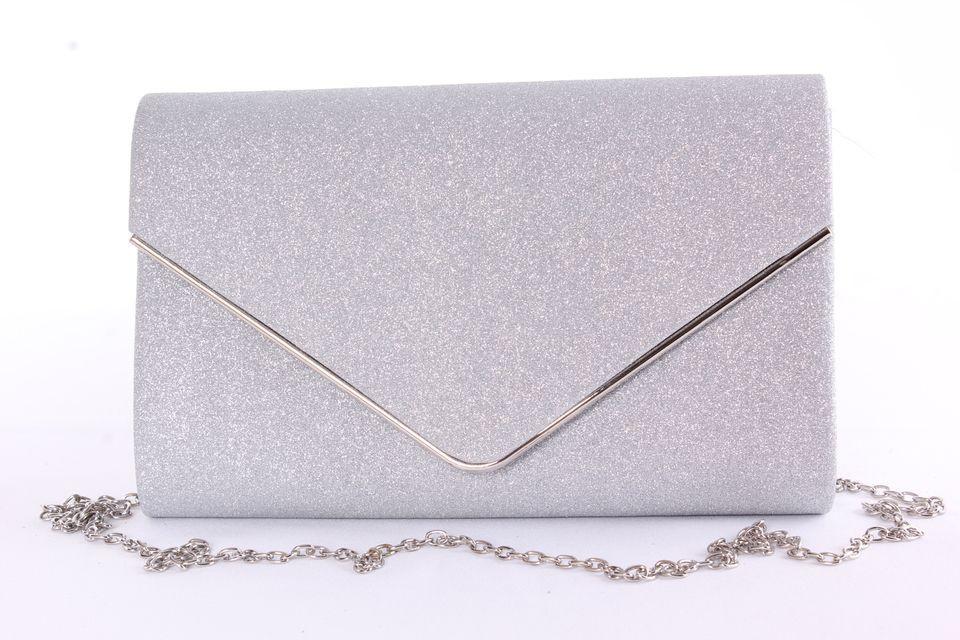 1a0ead9c03 Dámska spoločenská kabelka trblietavá so strieborným lemom (0297-2) -  strieborná