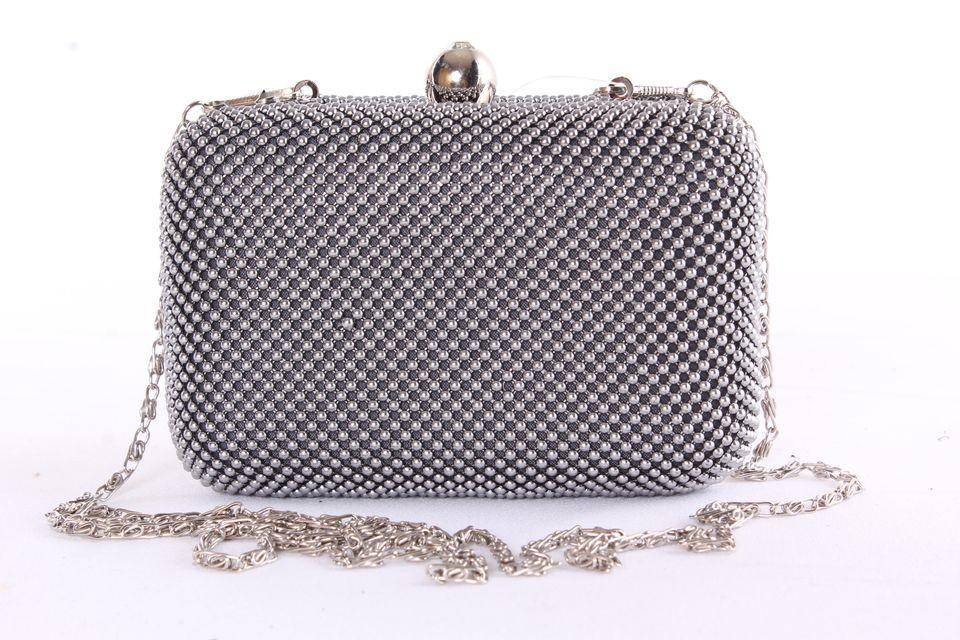 eee9f5f4f5 Dámska spoločenská kabelka zdobená gorálkami (MQ11407) - sivá (14x10x6 cm)