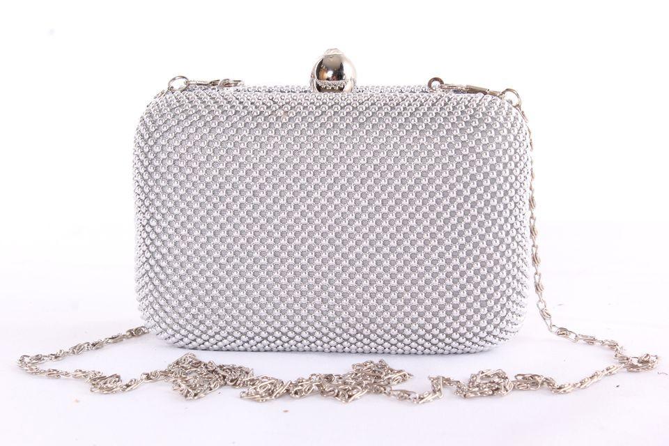 Dámska spoločenská kabelka zdobená gorálkami (MQ11407) - strieborná  (14x10x6 cm) 2d1eb57562b